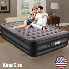 19 Inch Inflatable Air Mattress Bed with Built In Pump King Size Full Gel Airbed