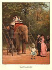 Elefanten - Reiten, Kinder im Zoo, große Farb - Lithographie von 1883