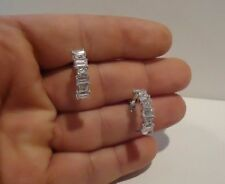 EARRINGS HOOP W/ 5 CT BAGUETTE LAB DIAMONDS / 21MM BY 6M / 925 STERLING SILVER