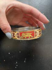 Hermes Red Dragon Enamel Bangle Bracelet
