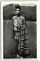 VTG Postcard Indian Brave Native Cherokee Ashville NC Carolina Blanket Planes A8
