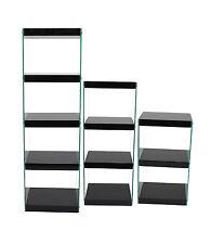 Moda Black High Gloss Shelving Unit Modern Glass Display Unit Bookcase Set of 3