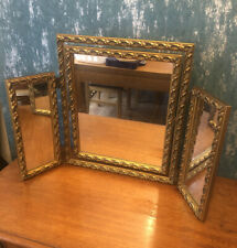 Vintage French Style Triple Mirror Dressing Table Ornate Gilt Gold Tilting Fold