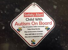 car sign child with autism on board safety sign