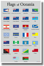 Flags of Oceania - NEW World Travel School Classroom Geography POSTER
