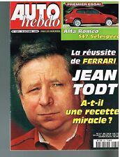 A23- Auto Hebdo N°1261 Reussite de Ferrari Jean Todt,Alfa Romeo 147 Selespeed