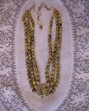 Designer CGI Triple Strand Sterling & Polished Green Jaspar Stone Bead Necklace