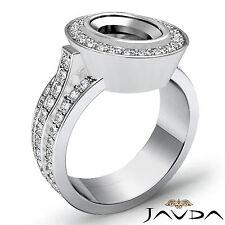 Halo Pave Set Diamond Engagement Oval Semi Mount Huge Ring 1.65Ct Platinum 950