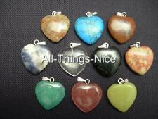 Gemstone Mix 20mm LOVE HEART Pendants Charm For Necklace Jewellery WHOLESALE 10