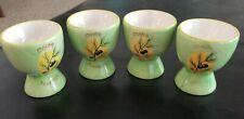 4  - Vintage Handpainted Porcelain Egg Cups olive and branch Douce Provence grn