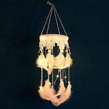 Handmade LED White Feathers Dream Catcher Wall Hanging Ornament Decor Eyeful