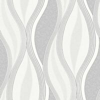 Grey Glitter Waves Silver White Quality Textured Vinyl Feature Wallpaper