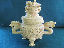 CHINESE CARVED SOAPSTONE ELABORATE CENSER COVERED 3 FOOTED BOWL W FIGURAL HANDLE