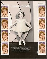 US 5060 Legends of Hollywood Shirley Temple forever gutter panel block 8 MNH