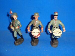 Elastolin 10cm Three Marching Bandsmen Lineol