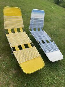 Vintage Folding Jelly Tube Chaise Lounge Lawn Chair Vinyl Retro Yellow NWT