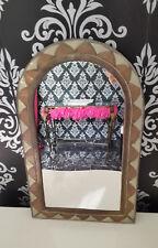 Miroir artisanal métal et cuivre oriental 26 x 43 cms