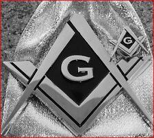 Masonic Square & Compass Chromed Metal Auto Emblem & Silver Plated Lapel Pin