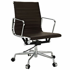 eMod Eames Style Office Chair Aluminum Group Reproduction Brown Leather