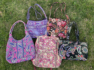 VERA BRADLEY Lot of 5 Purses -- totes, handbags, backpack Boysenberry Paisley