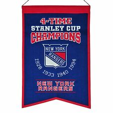 NEW YORK RANGERS FOUR-TIME STANLEY CUP CHAMPIONS BANNER MESSIER LEETCH RICHTER