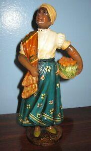 GIMENEZ pottery WOMAN W/ FRUIT statue figurine Brazil SIGNED Tlaquepaque style