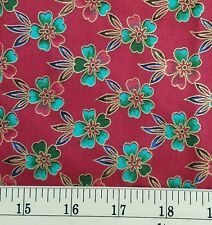 Wood Blocks Hoffman California Fabrics Fabric BTY Gold Teal Blue Red Floral L22