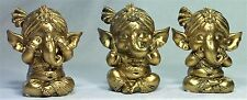 Baby Ganesha Figurine 3 Wise SEE HEAR & SPEAK NO EVIL NEW ***LAST SET***