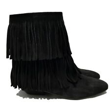 NEW, SAINT LAURENT BLACK SUEDE FRINGED 'TITI 25' BOOTS, 36.5, $1875