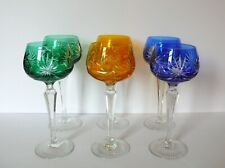 Set of 6 Czech Bohemian Multi-Color Crystal Wine Glasses