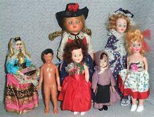 7 Doll Lot - Small Vintage Dolls Lot of 7 Dolls - Souvenir, Doll House, Etc