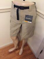 NWT Men's Travex Cargo 6 pkt Belt Eddie Bauer Nylon Shorts 40 Tan Beige Free Dry