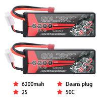 2Pack 6200mAh 2S 7.4V 50C RC Lipo Battery Pack Deans Plug For Car Truck Boat