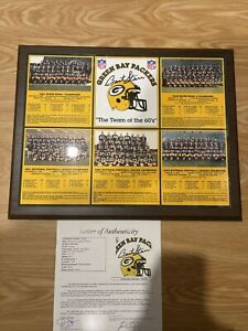 Autographed Bart Starr Signed Team Of The 60's Green Bay Packers Plaque JSA LOA