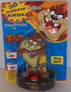 TALKING TAZ BIRTHDAY CAKE CANDLE SINGS HAPPY BIRTHDAY CARTOON TASMANIAN DEVIL