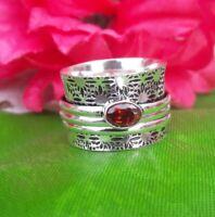 Garnet Stone Solid 925 Sterling Silver Spinner Ring Meditation Ring Size e323