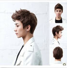 Hot Fashion wig Mens Short Dark Brown Wave Full wigs Daily Wear Hair Cospaly Wig