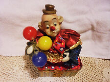 """Colorful Clown Music Box.Has Baloons & Sways To The Music.7 1/2"""" Tall"""