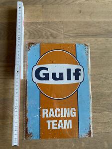 """Blechschild """"Gulf Racing-Team"""" Vintage Retro Werkstatt Garage 20x30cm NEU"""