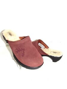 UGG Australia Brown Brick Suede Clogs Mules Shoes SZ 8.5