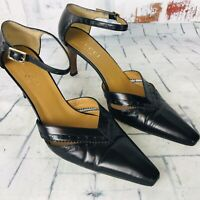 Gucci Black Leather Pointed Toe Ankle Strap Heels Women's Size 7.5