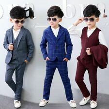 Kids Baby Boys Weddings Outfits Suit Coat+Vest+ Pants Formal Clothes 1-7 years