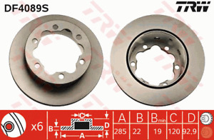 TRW Brake Rotor Rear DF4089S fits Volkswagen LT 28-35 2.5 TDI (2D) 61kw, 2.5 ...