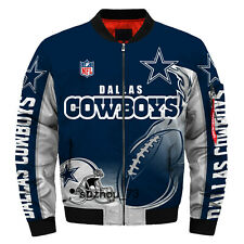 Men's Dallas Cowboys Jacket MA1 Flight Bomber Thicken Coat Football Outwear