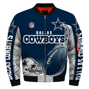 Men's Dallas Cowboys Jacket MA1 Flight Bomber Thicken Coat Football Outwear