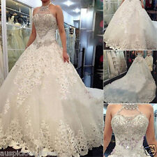 2019 Plus Size White/Ivory Lace Wedding Dresses Bridal Ball Gown Custom 4-26++