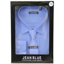 Camisas de vestir de hombre azul de algodón y poliéster