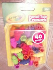 NEW Crayola Pencil Top Erasers School Supplies Assorted Colors Pack 40ct