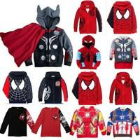 Superheros Kids Boys T-Shirt Pullover Tops Hooded Sweatshirt Sweater Jacket Coat