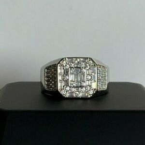 LUXE 'The Chandelier' Men's White Gold Finish Ring With Baguette Created Diamond